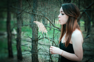 young sensual woman in wood harmony with nature