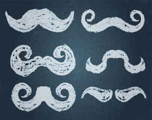 vector. Chalk Mustache Set