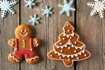 Christmas gingerbread man and tree cookies