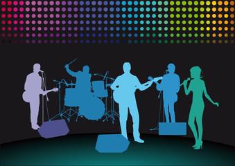 Rockband auf der Bühne