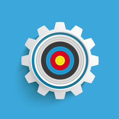 Colored Target Gear Blue Background