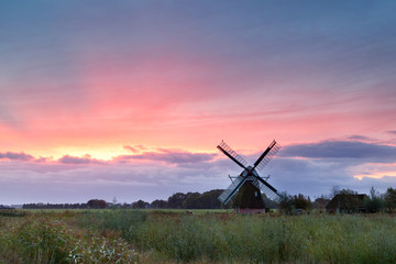 Dutch windmill and purple sunrise