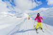 Skiing, winter, ski lesson - skiers on mountainside - 71158806