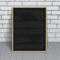 Black chalkboard with wooden frame
