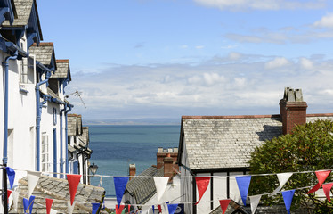 flags, roofs and sea at Clovelly, Devon