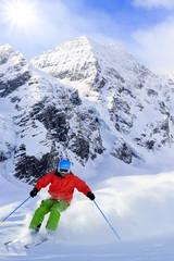 Skiing, Skier, Freeride in fresh powder snow
