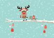 Rudolph Sleigh Gift Tree Retro