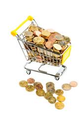 Einkaufskorb mit Münzen