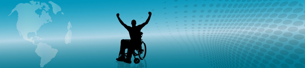 Vector silhouette of man in wheelchair.