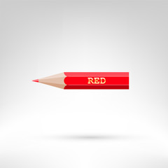Red color pencil with golden text