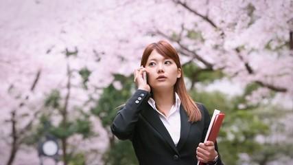 桜の下を電話しながらやって来るOL 2