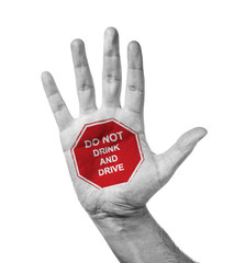 Male Hand With Stamp Stop - Don't Drink And Drive