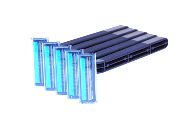 Blue personal plastic disposable razors isolated