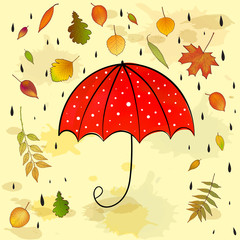 autumn background with leaves and umbrella