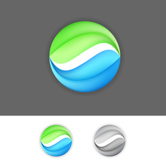 Corporate business green-blue eco sign element