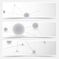 Flyers banners templates - molecule pattern