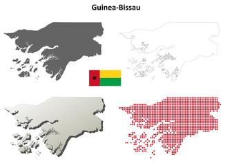 Guinea-Bissau blank detailed outline map set