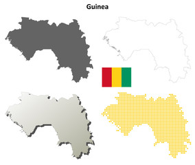 Guinea blank detailed outline map set