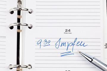 Eintrag im Kalender: Impfen