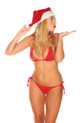 Santa Claus girl in a bathing suit