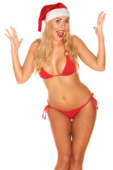Santa Claus girl in a bathing suit