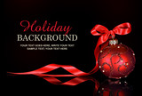 Christmas background with a red ornament and ribbon poster