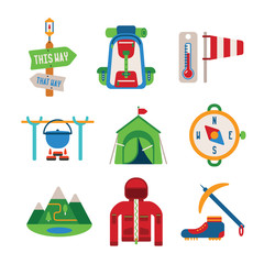 Set of vector colorful hiking icons in flat style