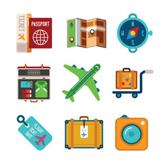 Set of vector colorful travel icons in flat style