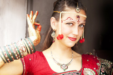 Beautiful bride in Indian traditional dress