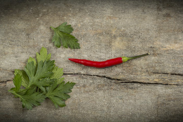 Chili peppers and parsley