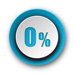 0 percent blue modern web icon on white background