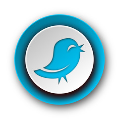 twitter blue modern web icon on white background