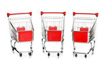 three empty shopping carts