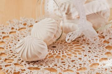 Marshmallows on the lace napkin