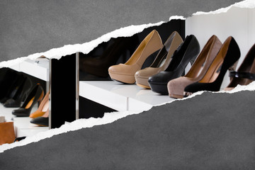 Close up of set of stylish shoes. Concept of fashion and beauty