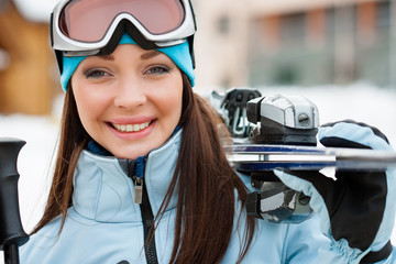 Close up of woman who hands skis