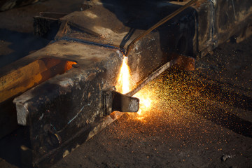 Cutting metal with gas welder