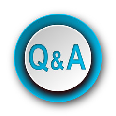 question answer blue modern web icon on white background