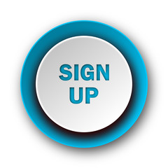 sign up blue modern web icon on white background