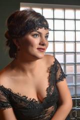 Portrait of beautiful woman in lace dress