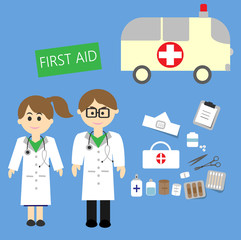 male and female doctors with first aid kit and ambulance