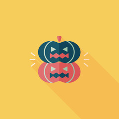 pumpkin monster flat icon with long shadow,eps10