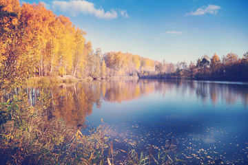 Autumn in Siberia, beautiful landscape