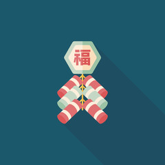 Chinese New Year flat icon, eps10, Chinese festival couplets wit