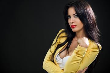 fashionable woman yellow blazer