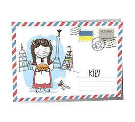Postcard Ukraine Kiev. Ukrainian girl. Vector drawing