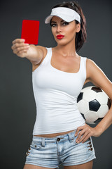attractive girl showing  red card