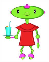 Green head robot waiter