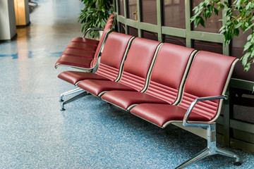 red seats at the airport