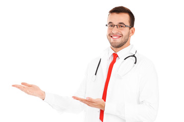 Happy doctor doing presentation